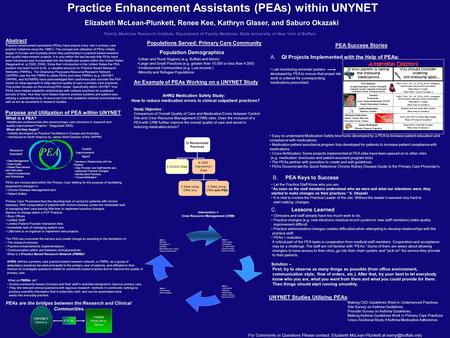 Purpose and Utilization of PEA within UNYNET PEA's are incorporated within the Primary Care Setting for the purpose of facilitating progressive changes.