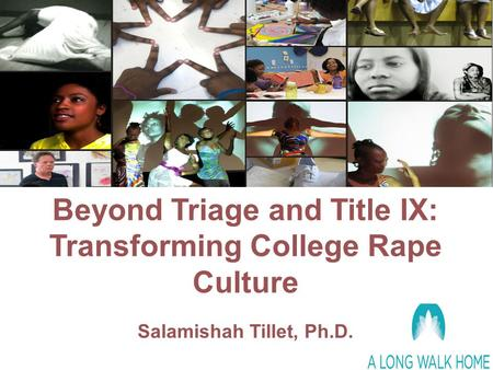 Beyond Triage and Title IX: Transforming College Rape Culture Salamishah Tillet, Ph.D.