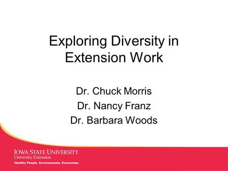 MANAGING Tough Times Exploring Diversity in Extension Work Dr. Chuck Morris Dr. Nancy Franz Dr. Barbara Woods.