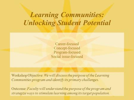 Learning Communities: Unlocking Student Potential Career-focused Concept-focused Program-focused Social issue-focused Workshop Objective: We will discuss.