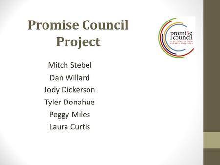 Promise Council Project Mitch Stebel Dan Willard Jody Dickerson Tyler Donahue Peggy Miles Laura Curtis.