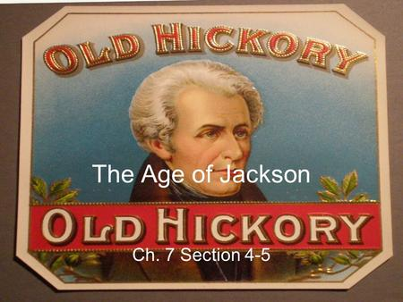 The Age of Jackson Ch. 7 Section 4-5.