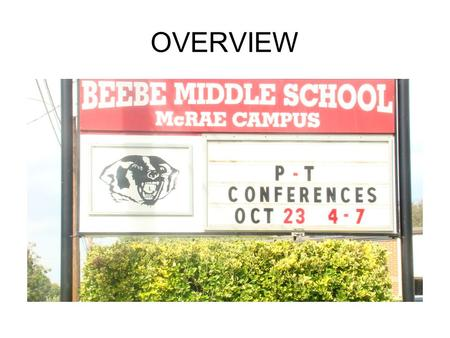 "OVERVIEW. Beebe Middle School School Year 2008-2009 ""America"" Teams Achieving for Success."