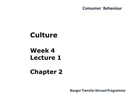 Consumer Behaviour Bangor Transfer Abroad Programme Culture Week 4 Lecture 1 Chapter 2.