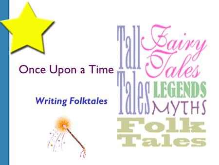 Once Upon a Time……. Writing Folktales. A power point presentation By: Farah Kamal.