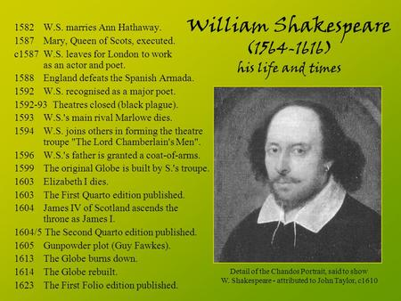 daily life in william shakespeares time What kinds of food did william shakespeare eat in his daily life time  william shakespeare ate bread daily in his life time he alsoenjoyed a good mug of brewed tea shakespeare is best known .