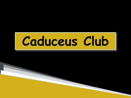 Caduceus Club. Olivia Eckstein President, Senior, Health and Disease Dominic Vitello Secretary,