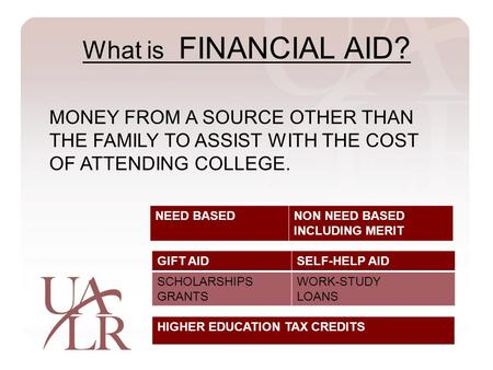 What is FINANCIAL AID? NEED BASEDNON NEED BASED INCLUDING MERIT GIFT AIDSELF-HELP AID SCHOLARSHIPS GRANTS WORK-STUDY LOANS HIGHER EDUCATION TAX CREDITS.