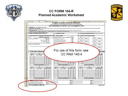 CC FORM 104-R Planned Academic Worksheet For use of this form, see CC PAM 145-4.