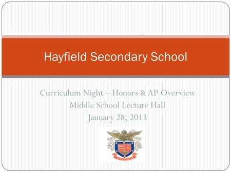 Curriculum Night – Honors & AP Overview Middle School Lecture Hall January 28, 2013 Hayfield Secondary School.