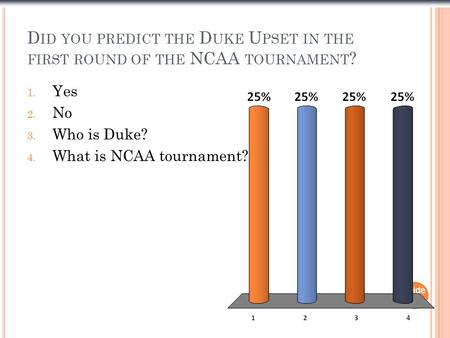 D ID YOU PREDICT THE D UKE U PSET IN THE FIRST ROUND OF THE NCAA TOURNAMENT ? Slide 1- 1 1. Yes 2. No 3. Who is Duke? 4. What is NCAA tournament?