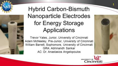 Hybrid Carbon-Bismuth Nanoparticle Electrodes for Energy Storage Applications Trevor Yates, Junior, University of Cincinnati Adam McNeeley, Pre-Junior,
