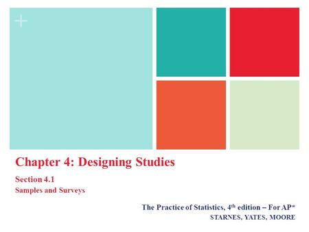 + The Practice of Statistics, 4 th edition – For AP* STARNES, YATES, MOORE Chapter 4: Designing Studies Section 4.1 Samples and Surveys.