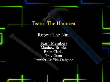 Team: The Hammer Robot: The Nail Team Members Matthew Brooks Brian Clarke Troy Grant Jennifer Griffith-Delgado.