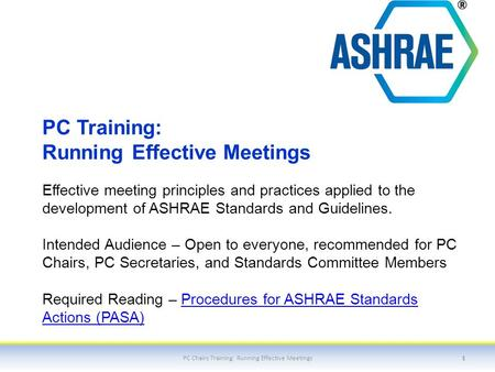PC Training: Running Effective Meetings