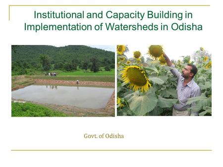 Govt. of Odisha Institutional and Capacity Building in Implementation of Watersheds in Odisha.