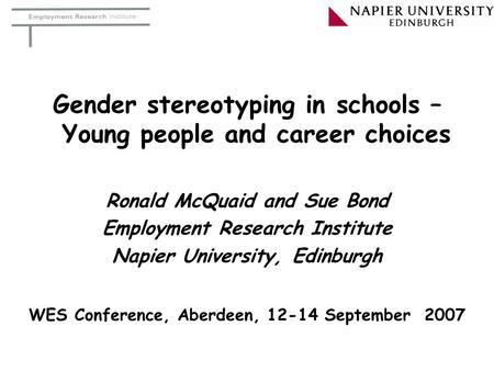 Gender stereotyping in schools – Young people and career choices