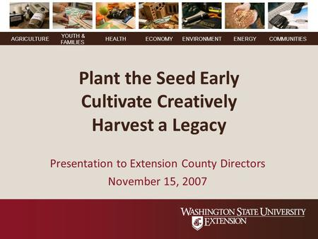YOUTH & FAMILIES AGRICULTUREHEALTHECONOMYENVIRONMENTENERGY COMMUNITIES Plant the Seed Early Cultivate Creatively Harvest a Legacy Presentation to Extension.