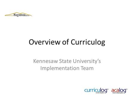 Overview of Curriculog
