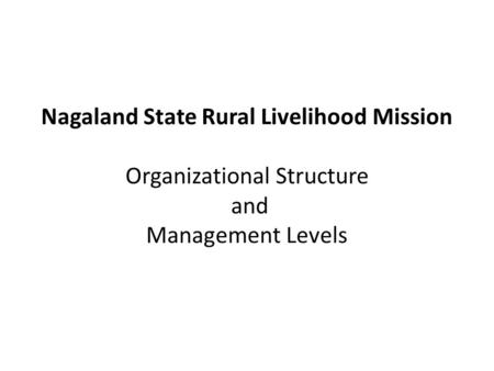 Nagaland State Rural Livelihood Mission Organizational Structure and Management Levels.