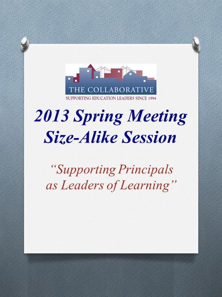 "2013 Spring Meeting Size-Alike Session ""Supporting Principals as Leaders of Learning"""