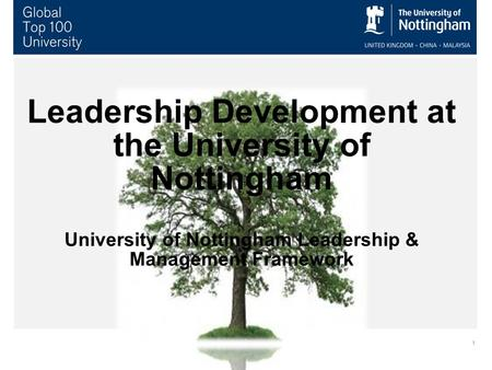 Leadership Development at the University of Nottingham University of Nottingham Leadership & Management Framework.