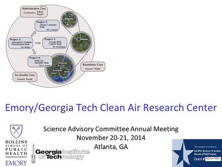 Emory/Georgia Tech Clean Air Research Center RD83479901 Science Advisory Committee Annual Meeting November 20-21, 2014 Atlanta, GA.