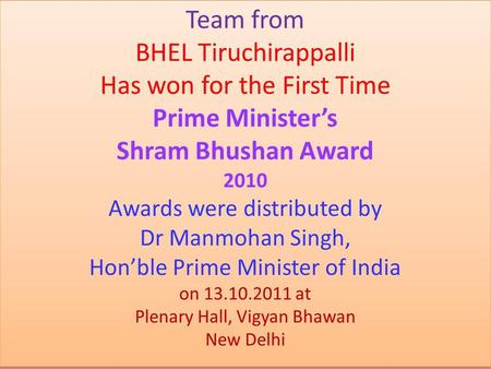 Award Ceremony coverage by Govt.of India website.