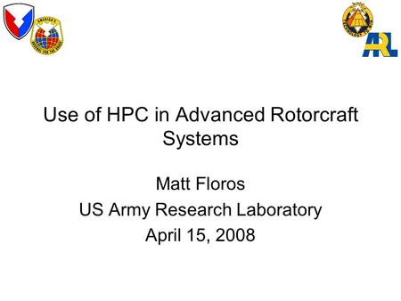 Use of HPC in Advanced Rotorcraft Systems