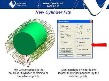What's New in SA 2009.02.16 New Cylinder Fits Max Inscribed cylinder is the largest fit cylinder bounded by the selected points. Min Circumscribed is the.