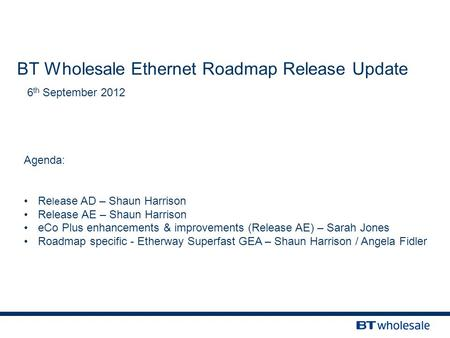 BT Wholesale Ethernet Roadmap Release Update 6 th September 2012 Agenda: Re le ase AD – Shaun Harrison Release AE – Shaun Harrison eCo Plus enhancements.