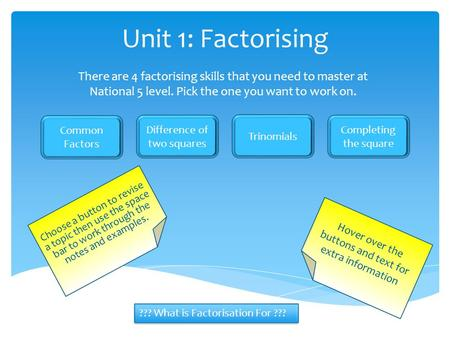 Unit 1: Factorising There are 4 factorising skills that you need to master at National 5 level. Pick the one you want to work on. Common Factors Difference.