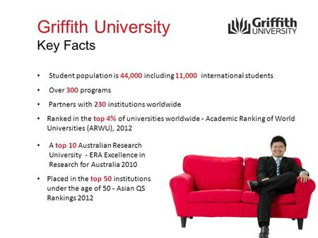 Griffith University Key Facts Student population is 44,000 including 11,000 international students Over 300 programs Partners with 230 institutions worldwide.