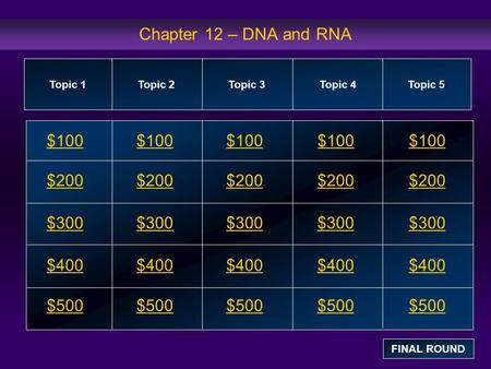 Chapter 12 – DNA and RNA $100 $200 $300 $400 $500 $100$100$100 $200 $300 $400 $500 Topic 1Topic 2Topic 3Topic 4 Topic 5 FINAL ROUND.