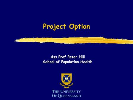 Project Option Ass Prof Peter Hill School of Population Health.