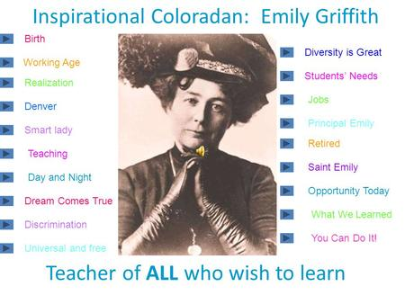 Inspirational Coloradan: Emily Griffith Teacher of ALL who wish to learn Birth Working Age Realization Denver Smart lady Teaching Day and Night Dream.