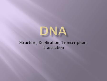 Structure, Replication, Transcription, Translation.