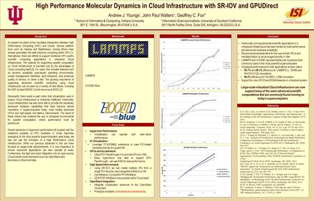 TEMPLATE DESIGN © 2008 www.PosterPresentations.com High Performance Molecular Dynamics in Cloud Infrastructure with SR-IOV and GPUDirect Andrew J. Younge.
