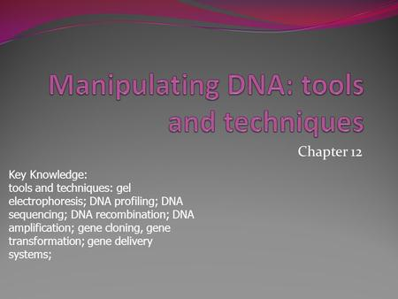 Chapter 12 Key Knowledge: tools and techniques: gel electrophoresis; DNA profiling; DNA sequencing; DNA recombination; DNA amplification; gene cloning,