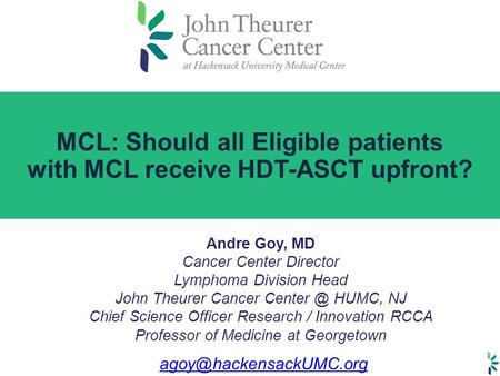 MCL: Should all Eligible patients with MCL receive HDT-ASCT upfront?