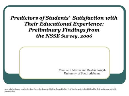 Predictors of Students' Satisfaction with Their Educational Experience: Preliminary Findings from the NSSE Survey, 2006 Cecelia G. Martin and Beatriz Joseph.