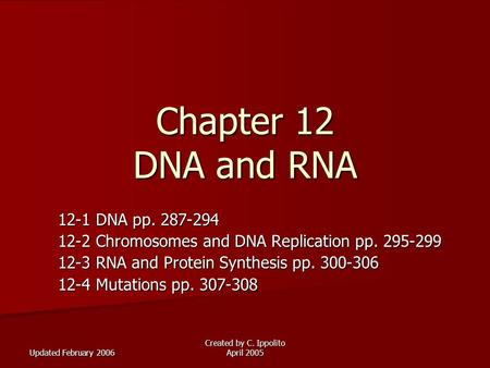 Updated February 2006 Created by C. Ippolito April 2005 Chapter 12 DNA and RNA 12-1 DNA pp. 287-294 12-2 Chromosomes and DNA Replication pp. 295-299 12-3.