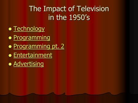The Impact of Television in the 1950's Technology Technology Technology Programming Programming Programming Programming pt. 2 Programming pt. 2 Programming.