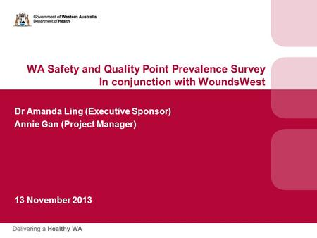 WA Safety and Quality Point Prevalence Survey In conjunction with WoundsWest Dr Amanda Ling (Executive Sponsor) Annie Gan (Project Manager) 13 November.