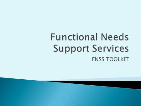 FNSS TOOLKIT.  Review the FNSS toolkit components  Examine each FNSS Toolkit Tab for further clarification.
