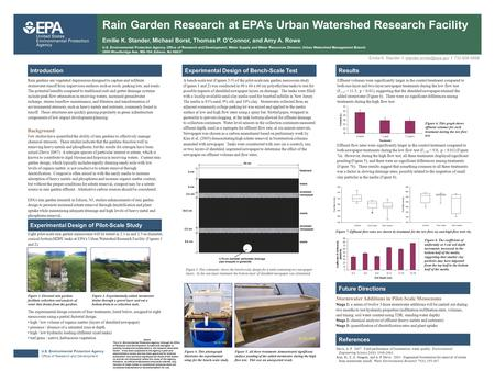 U.S. Environmental Protection Agency Office of Research and Development Rain Garden Research at EPA's Urban Watershed Research Facility Emilie K. Stander,