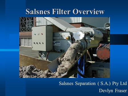 Salsnes Filter Overview