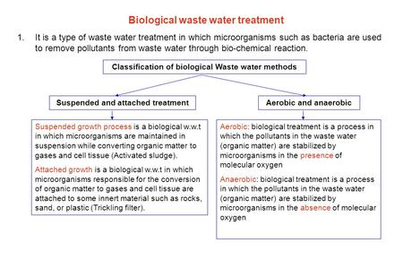 Biological waste water treatment 1.It is a type of waste water treatment in which microorganisms such as bacteria are used to remove pollutants from waste.