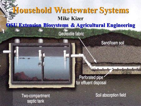 Household Wastewater Systems Mike Kizer OSU Extension Biosystems & Agricultural Engineering.