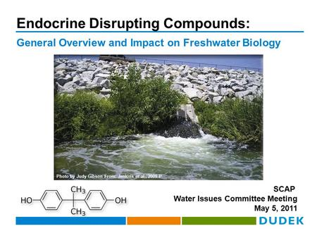 Endocrine Disrupting Compounds: General Overview and Impact on Freshwater Biology SCAP Water Issues Committee Meeting May 5, 2011 Photo by Judy Gibson.